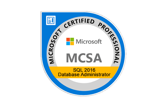 Microsoft Certified Solutions Accosiate SQL 2016 Database Administration Exams