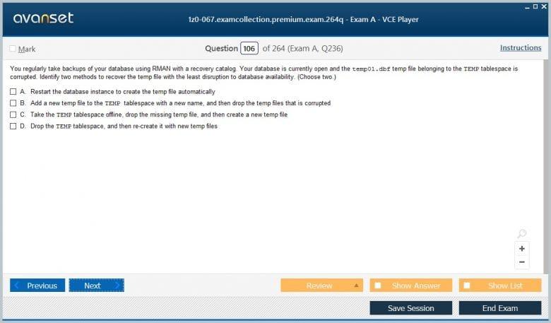 1z0-067 Premium VCE Screenshot #3