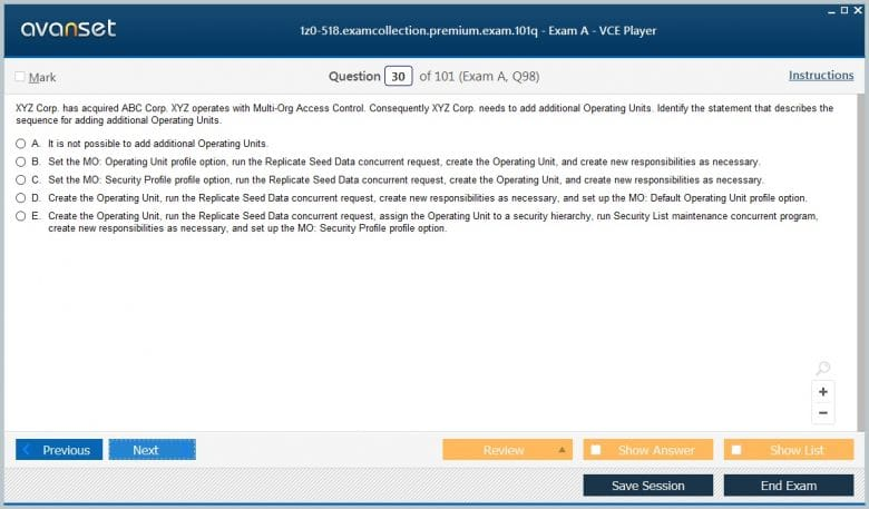 1z0-518 Premium VCE Screenshot #3
