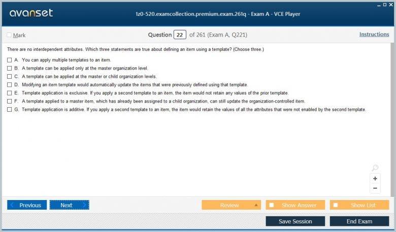 1z0-520 Premium VCE Screenshot #2