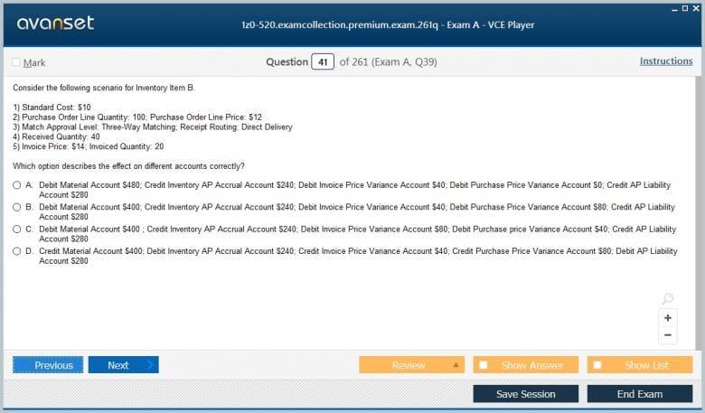 1z0-520 Premium VCE Screenshot #3