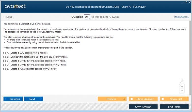 70-462 Premium VCE Screenshot #1