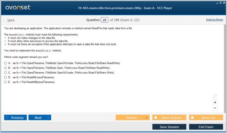 70-483 Premium VCE Screenshot #2