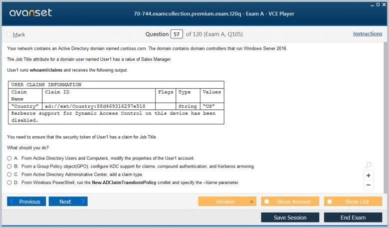 70-744 Premium VCE Screenshot #4
