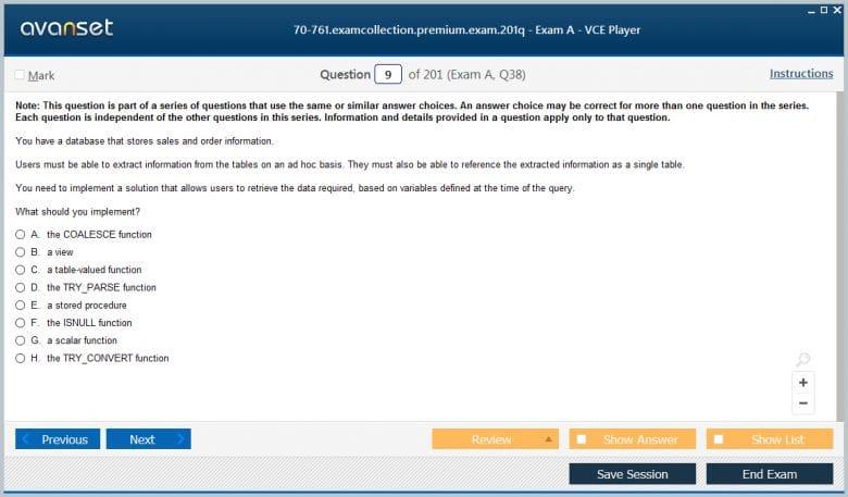 70-761 Premium VCE Screenshot #1