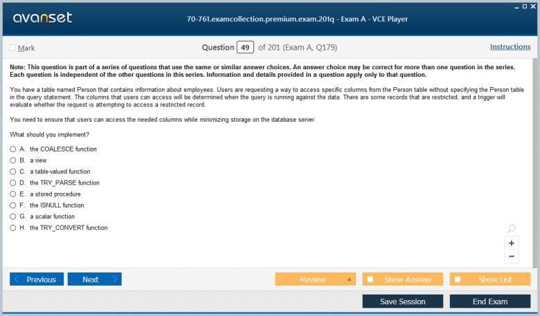 70-761 Premium VCE Screenshot #2