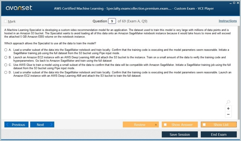AWS Certified Machine Learning - Specialty Premium VCE Screenshot #2