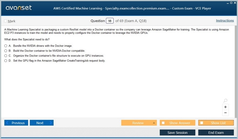 AWS Certified Machine Learning - Specialty Premium VCE Screenshot #3