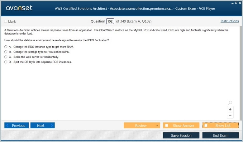 AWS Certified Solutions Architect - Associate Premium VCE Screenshot #3