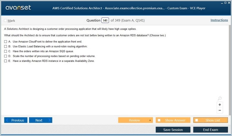 AWS Certified Solutions Architect - Associate Premium VCE Screenshot #4