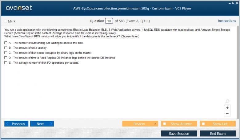 AWS-SysOps Premium VCE Screenshot #1