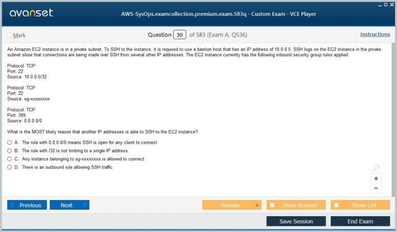 AWS-SysOps Premium VCE Screenshot #2