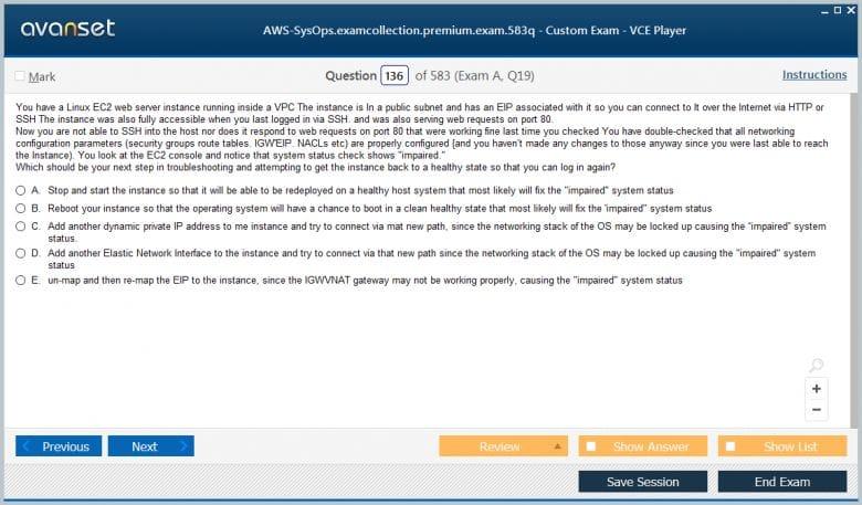 AWS-SysOps Premium VCE Screenshot #3