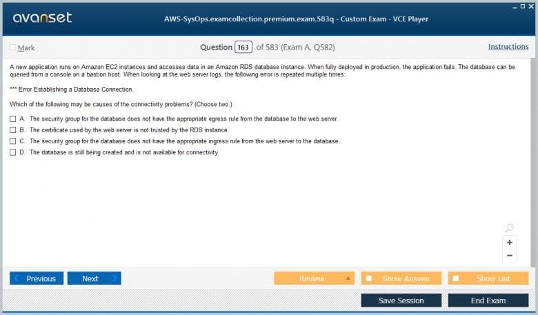 AWS-SysOps Premium VCE Screenshot #4