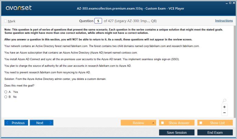 AZ-303 Premium VCE Screenshot #1