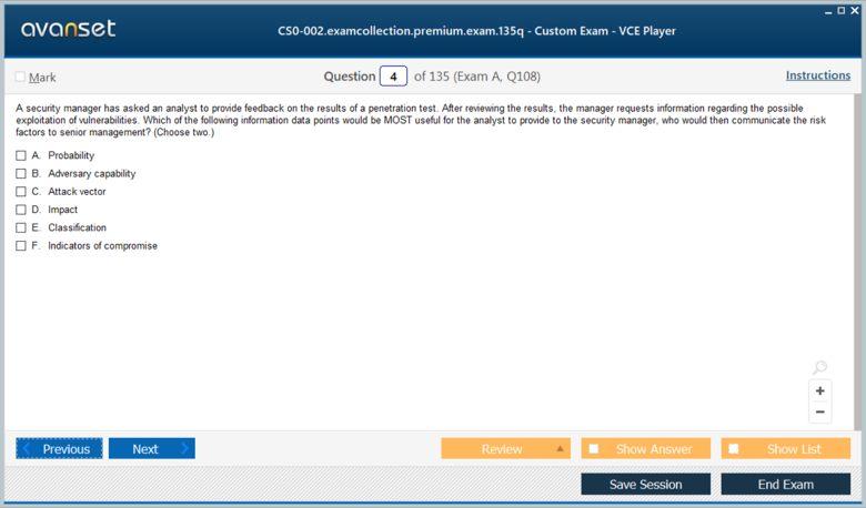 CS0-002 Premium VCE Screenshot #1