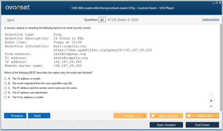 CS0-002 Premium VCE Screenshot #2