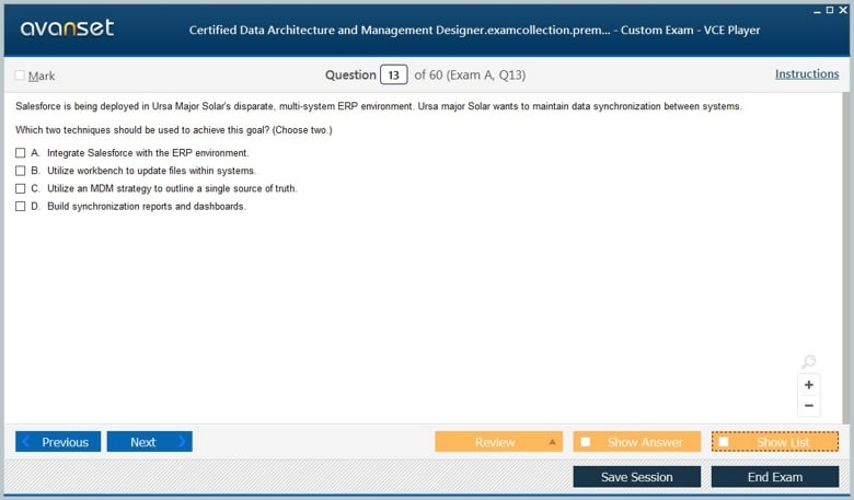 Certified Data Architecture and Management Designer Premium VCE Screenshot #2
