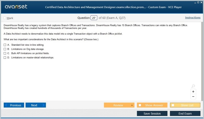 Certified Data Architecture and Management Designer Premium VCE Screenshot #4
