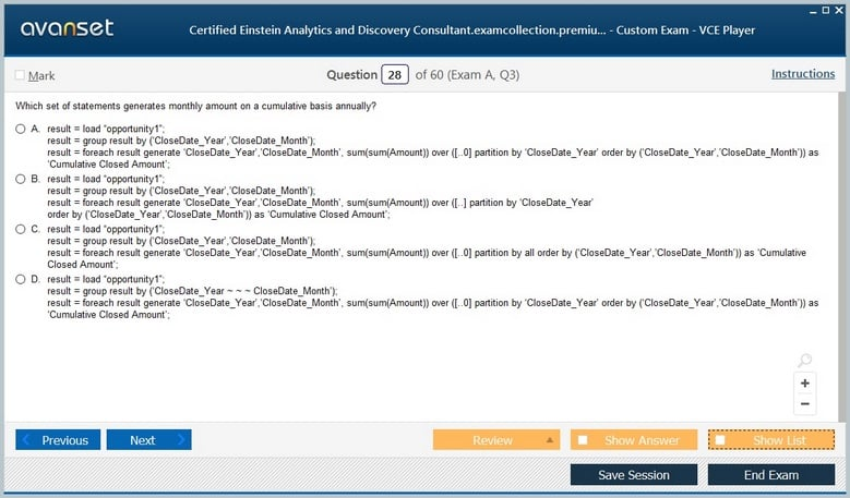 Certified Einstein Analytics and Discovery Consultant Premium VCE Screenshot #4