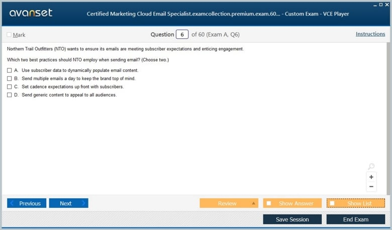 Certified Marketing Cloud Email Specialist Premium VCE Screenshot #1