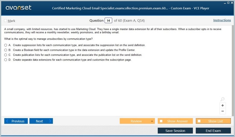 Certified Marketing Cloud Email Specialist Premium VCE Screenshot #2