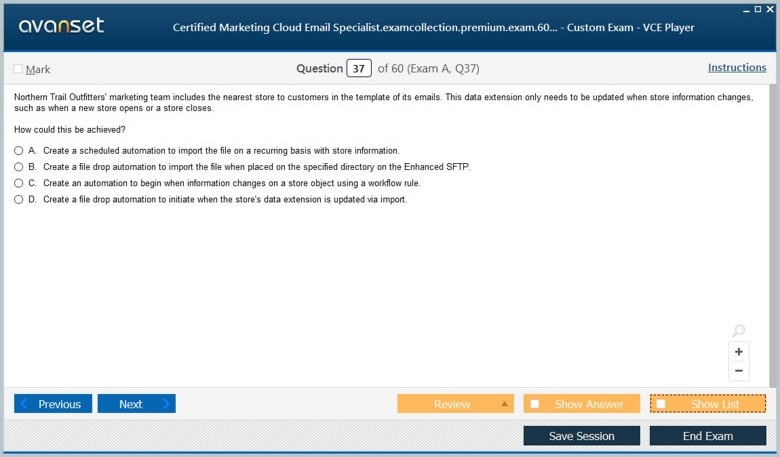 Certified Marketing Cloud Email Specialist Premium VCE Screenshot #4