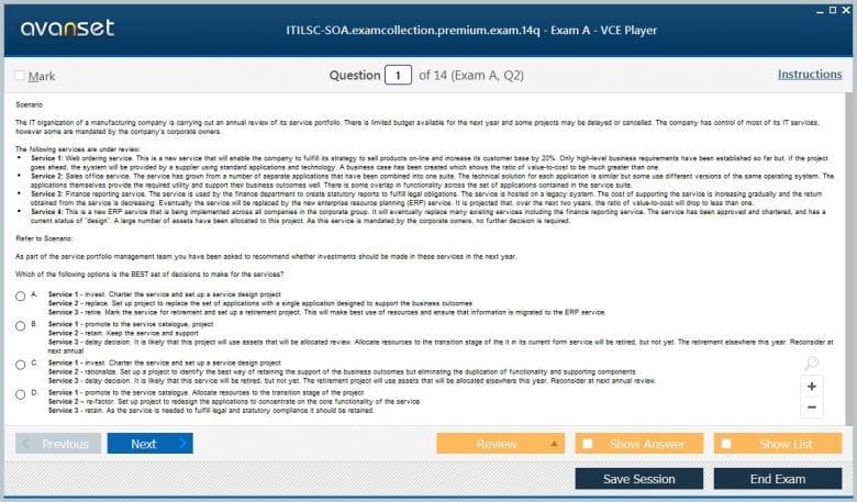 ITILSC-SOA Premium VCE Screenshot #1