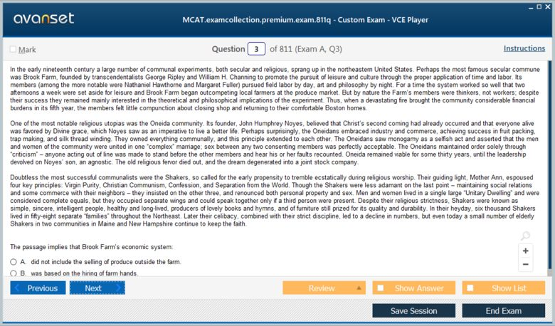 MCAT Test Premium VCE Screenshot #1