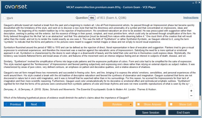 MCAT Test Premium VCE Screenshot #2