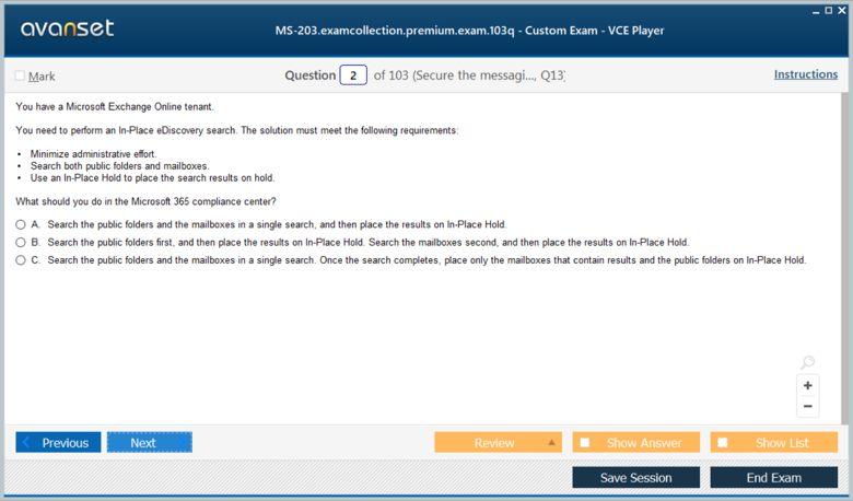 MS-203 Premium VCE Screenshot #1