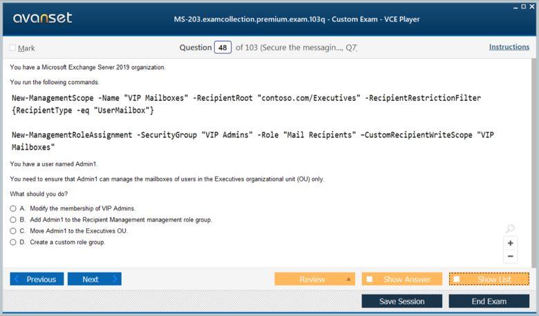 MS-203 Premium VCE Screenshot #4