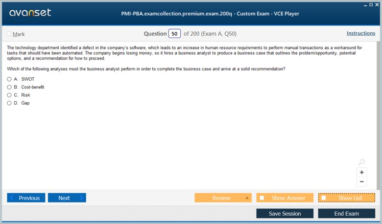 PMI-PBA Premium VCE Screenshot #2