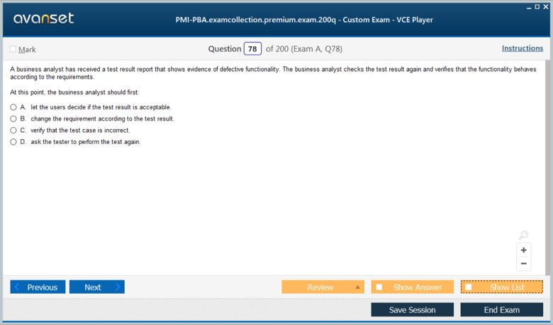 PMI-PBA Premium VCE Screenshot #3