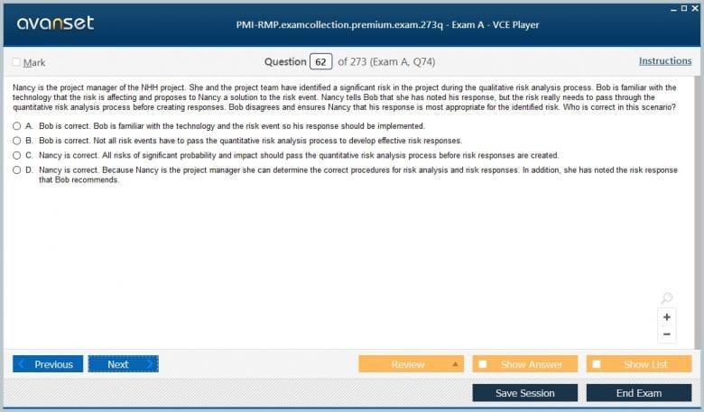 PMI-RMP Premium VCE Screenshot #4