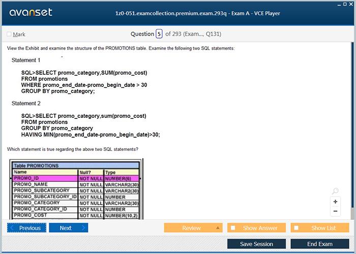 Oracle 1z0 051 Practice Test Questions 1z0 051 Vce Exam Dumps