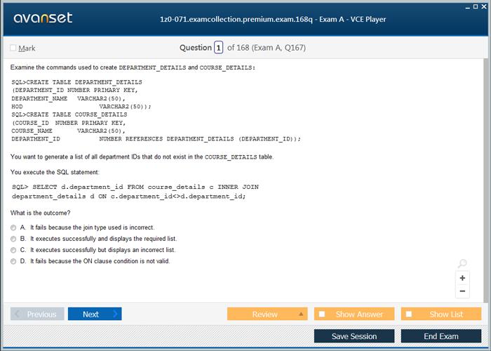 Oracle PL/SQL Developer Certified Associate Certification Exam Dumps ...