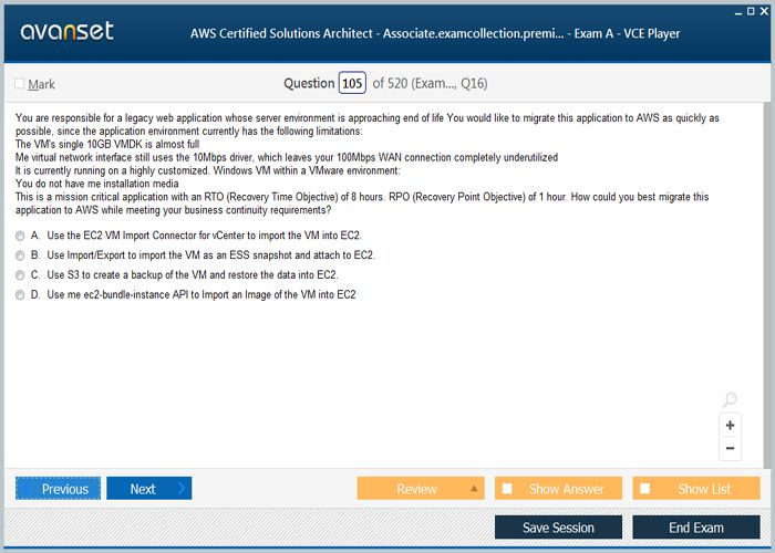 Amazon Aws Certified Solutions Architect Associate Practice Test